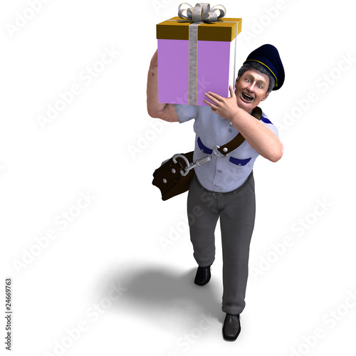 the mailman delievers a gift for you. 3D rendering with clipping