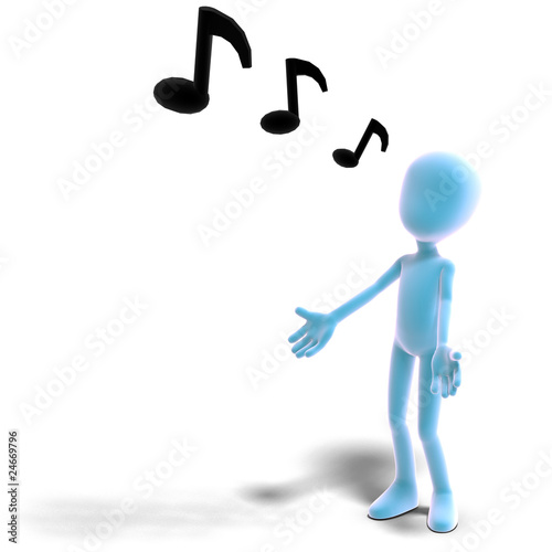 3d male icon toon character sings out loud. 3D rendering with cl