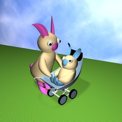 Hares, mum looks after the kid in a carriage, 3d.