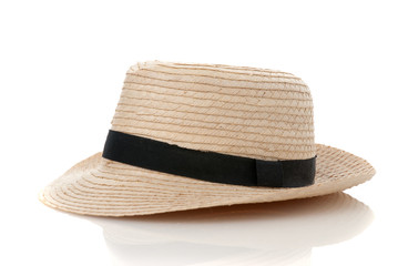 Straw hat withe black ribbon
