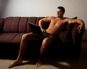Nude Man with Laptop Computer