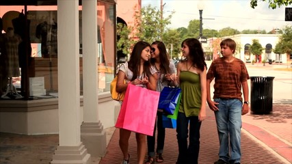 Teens shopping in a small rural town.