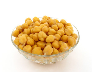 Chick-peas in glass bowl