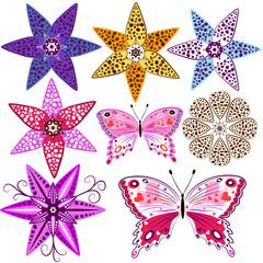 Set flowers and  butterflies