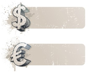 Vector banners with hand drawn currency sign - dollar and euro