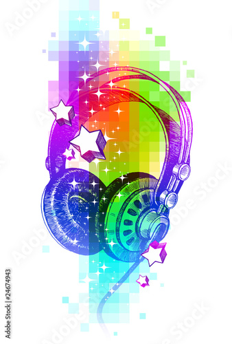 Colorful vector design with hand drawn headphones