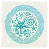 Abstract vector illustration with hand drawn sea fauna poster