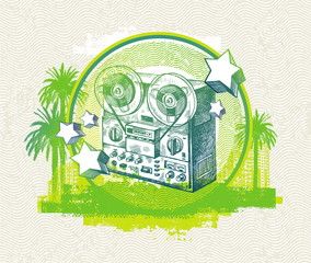 Vector musical  illustration with hand drawn retro tape recorder