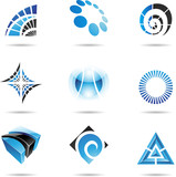 Fototapety Various blue abstract icons, Set 5