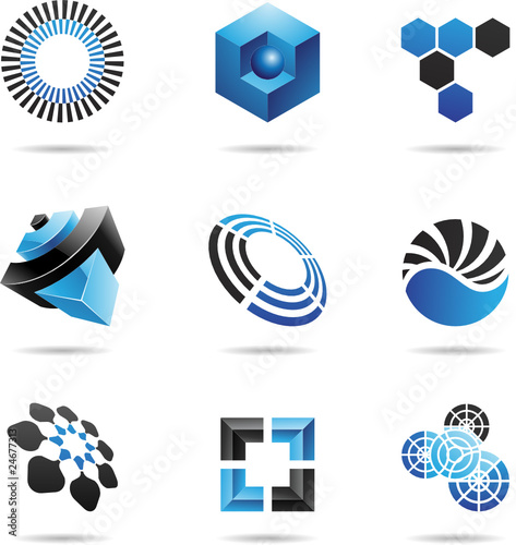Various blue abstract icons, Set 4