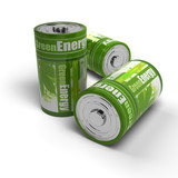 renewable energies concept - green and eco friendly batteries poster