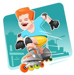 Roller Skating Boy mooving fast