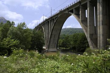 Valley of Mingardo with an old railway bridge, Salerno, Italy