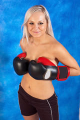 Young sexy girls in boxing gloves