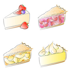 Cheesecake and pie slices