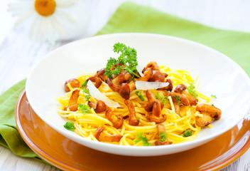 pasta with chanterelles