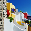 colored streets of Santorini
