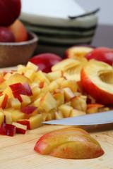 Chopping nectarines for jam