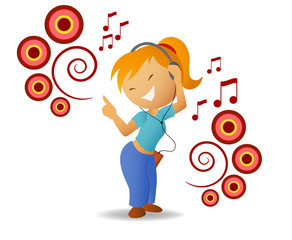 Dancing girl listen music in headphone