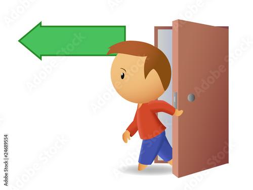 Men exit from the door