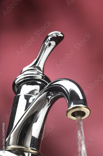 running water out of tap of sink faucet
