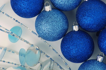Christmas decoration, blue, silver with a bead twig