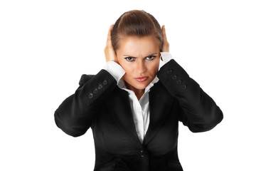modern business woman with hand on ears isolated on white