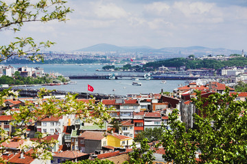 Panorama of Golden Horn Gulf and the Bosphorus in Istanbul