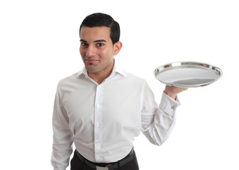 Waiter or bartender holding silver tray