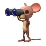 3d Mouse uses his binoculars