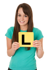 Girl holding yellow L plate