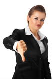 modern business woman showing thumbs down gesture isolated