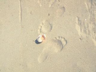 footprints and seashell