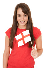 Woman waving the English flag