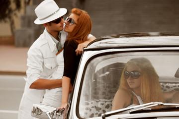 Jealousy in a retro car.