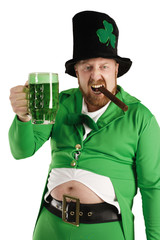 Leprechaun hoisting a green beer