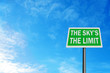Photo realistic 'the sky's the limit' sign, with space for your