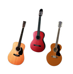 Three acoustic guitars isolated on white