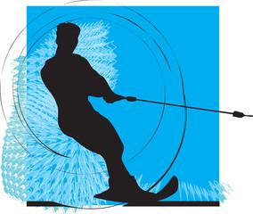 Water skiing man illustration