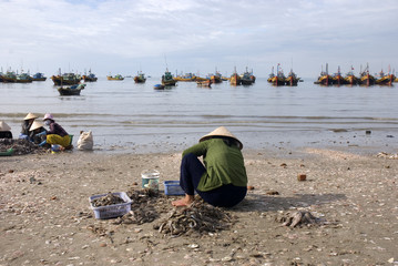 Vietnamese woman who clean the freshly caught fish