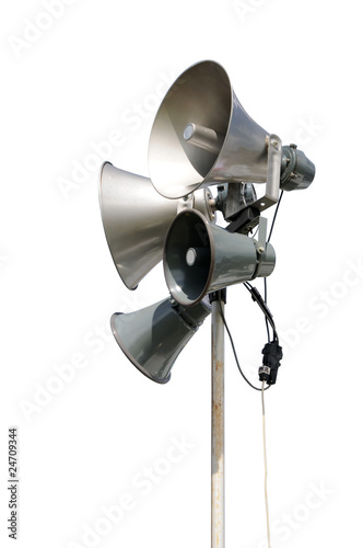 PA / Public Address system speakers, isolated on white