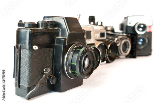 isolated old cameras on a white