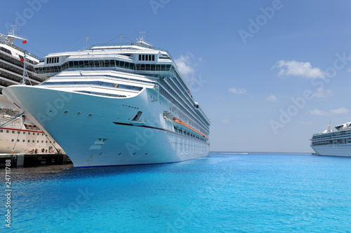 Cruise Ships Docked in Tropical Port