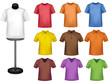 Many colored shirts with a mannequin. Vector.