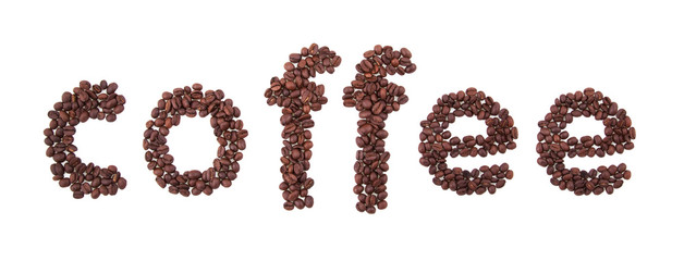 coffee background: letters made from roasted coffee beens