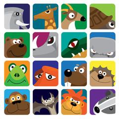 wild animals vector icon set