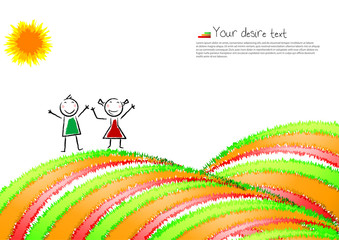 Post-card with a happy child. Vector illustration.