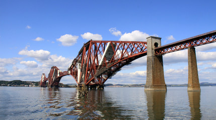 Forth rail bridge and columns, Queensferry, Scotland