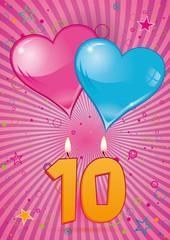 carte d'anniversaire de mariage - 10 ans