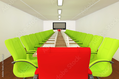 Conference room with empty chairs
